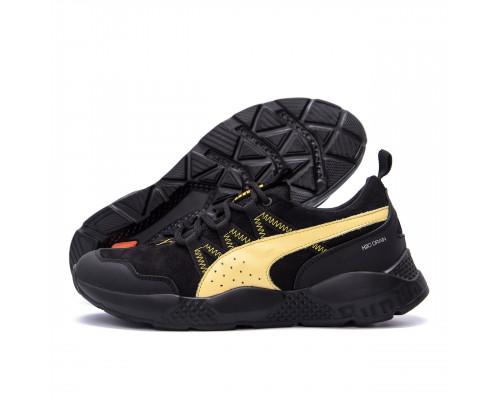 Мужские кожаные кроссовки Puma Runner Black Р1ж