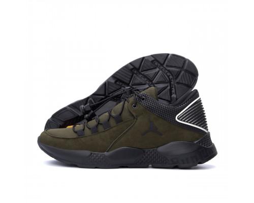 Мужские кожаные кроссовки Jordan Olive