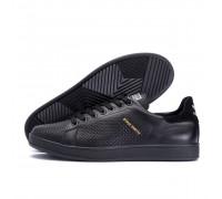 Мужские кожаные летние кроссовки, перфорация Adidas Stan Smith Black RUNNING