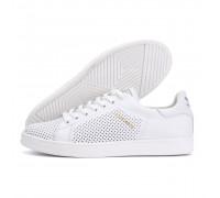 Мужские кожаные летние кроссовки, перфорация Adidas Stan Smith White RUNNING