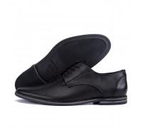 Мужские кожаные летние туфли перфорация VanKristi classic black 2191