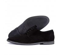Мужские кожаные летние туфли перфорация VanKristi classic black 2192