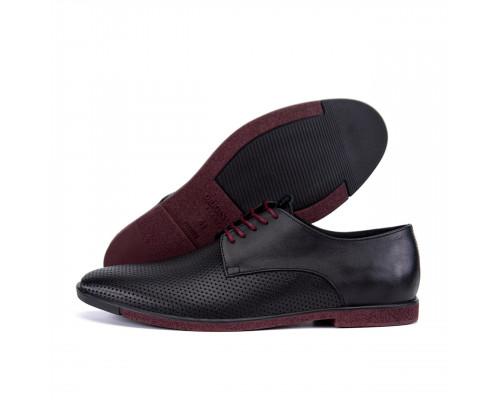 Мужские кожаные летние туфли VanKristi classic black П500чк