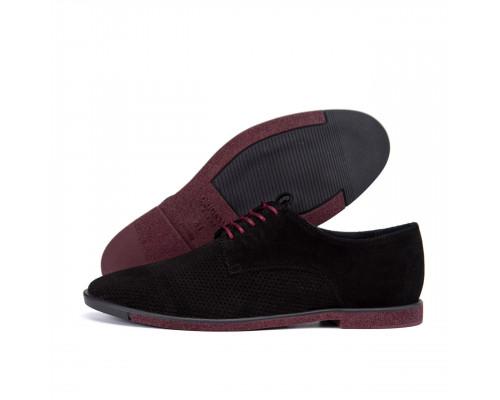 Мужские кожаные летние туфли VanKristi classic black П500чз