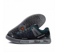 Мужские кожаные кроссовки Salomon Grey and Green Trend NEW