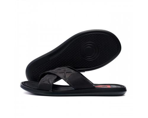 Мужские кожаные летние шлепанцы-сланцы Reebok CrossFit black