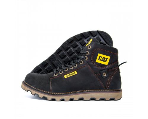 Мужские зимние кожаные ботинки CAT 114 чр