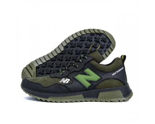 Мужские кожаные кроссовки New Balance Olive