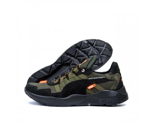 Мужские кожаные кроссовки Puma ST RUNNER Olive