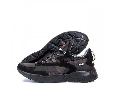 Мужские кожаные кроссовки Puma ST RUNNER Black 325 ч\сер