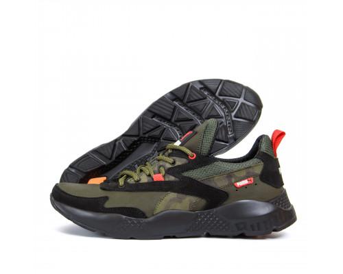 Мужские кожаные кроссовки Puma ST RUNNER Olive 325 ол