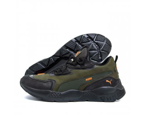 Мужские кожаные кроссовки Puma ST RUNNER P2 хаки