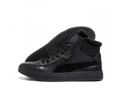 Мужские зимние кожаные ботинки Puma Black LeatherP26-1 бот