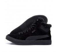 Мужские зимние кожаные ботинки Puma Black P26-2 бот