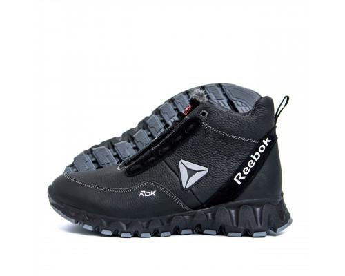 Мужские зимние кожаные ботинки Reebok Crossfit Black Grey