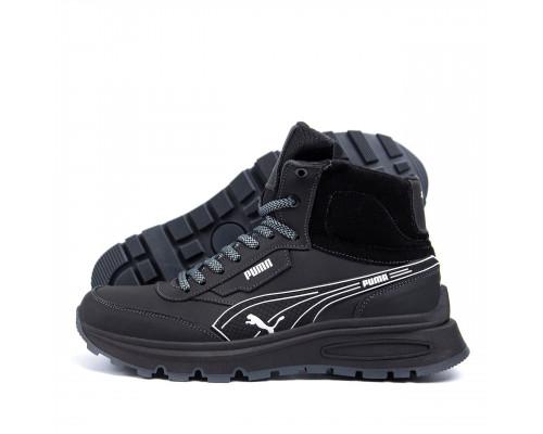 Мужские зимние кожаные ботинки Puma Black LeatherБот 10\1