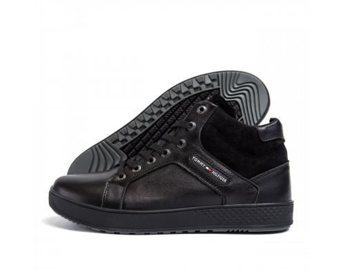 Мужские зимние кожаные ботинки Tommy Hilfiger Black Н-14ч бот