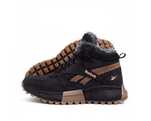 Мужские зимние кожаные ботинки Reebok R-05 черн бот