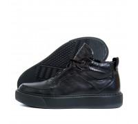 Мужские зимние кожаные ботинки ZG Black Exclusive ZG 0703 чк бот