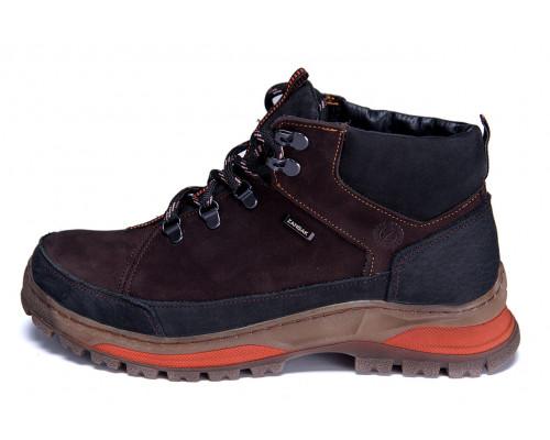 Мужские зимние кожаные ботинки ZG Brown Nubuk Style