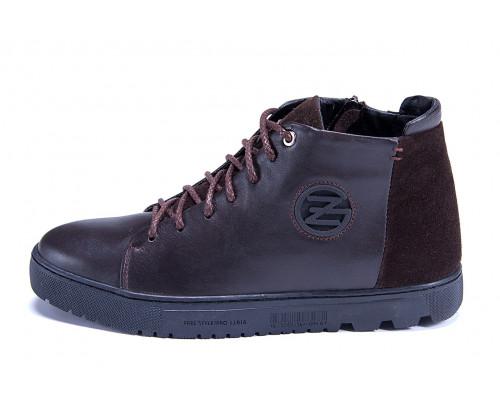 Мужские зимние кожаные ботинки ZG GO GO Man Brown