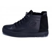 Мужские зимние кожаные ботинки ZG GO GO Man Black