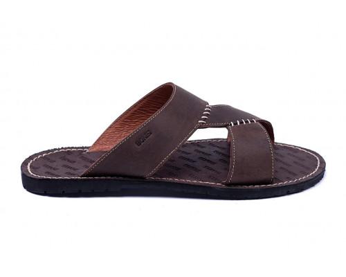 Мужские кожаные летние шлепанцы-сланцы Bonis Original Brown