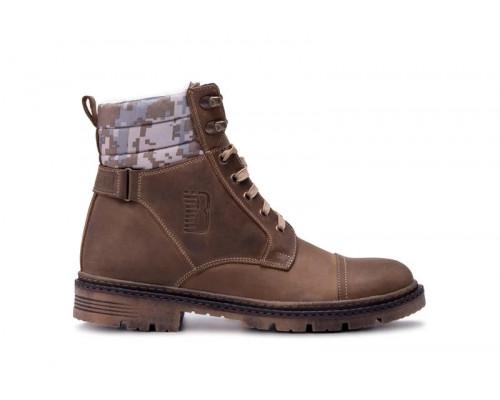 Мужские кожаные зимние ботинки Bastion Olive 18044 ол