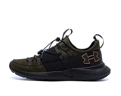 Мужские кожаные кроссовки Under Armour оливка
