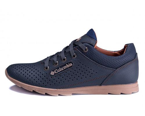 Мужские кожаные летние кроссовки, перфорация ColumbiaSB blue