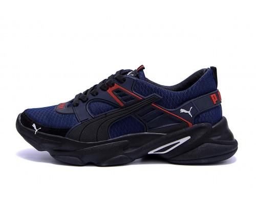 Мужские летние кроссовки сетка Puma Р5 синие сетка