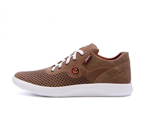 Мужские кожаные летние кроссовки, перфорация 532 brown