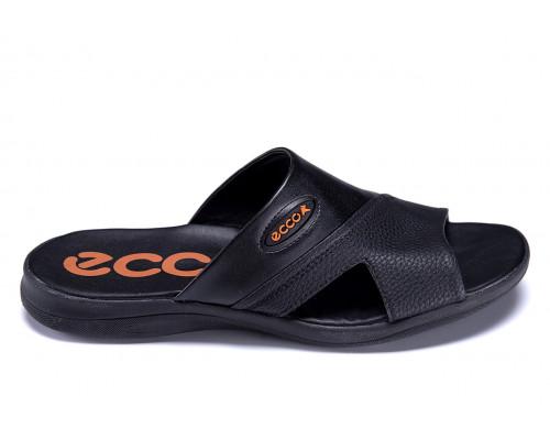 Мужские кожаные летние шлепанцы-сланцы Ecco Black