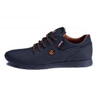 Мужские кожаные летние кроссовки, перфорация Ecco biom black