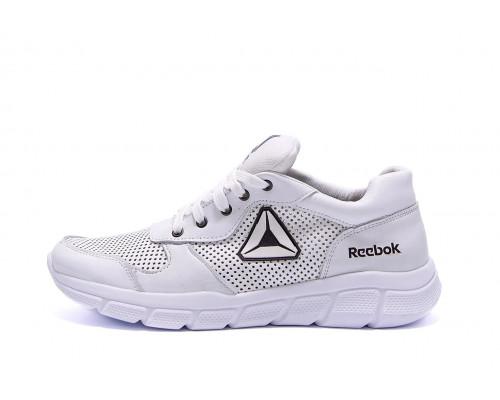 Мужские кожаные летние кроссовки перфорация Reebok Classic White