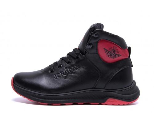 Мужские зимние кожаные ботинки Jordan Black leather