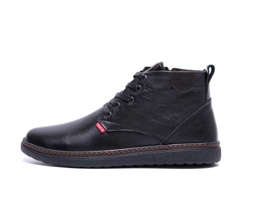 Мужские зимние кожаные ботинки Levis Stage Black Л-20