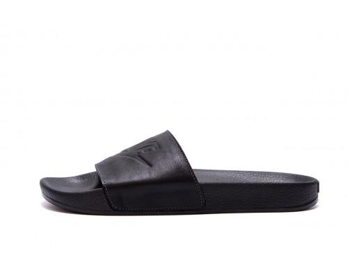 Мужские кожаные летние шлепанцы Nike Black