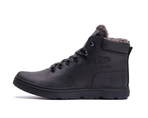 Мужские зимние кожаные ботинки Polar Bear Black leather