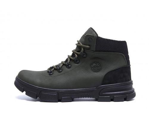 Мужские зимние кожаные кроссовки Icefield olive classic