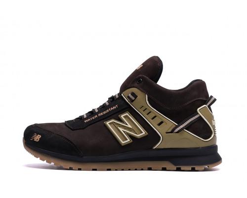 Мужские зимние кожаные кроссовки NB Clasic Brown