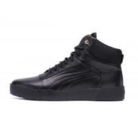 Мужские зимние кожаные ботинки Puma Black Leather