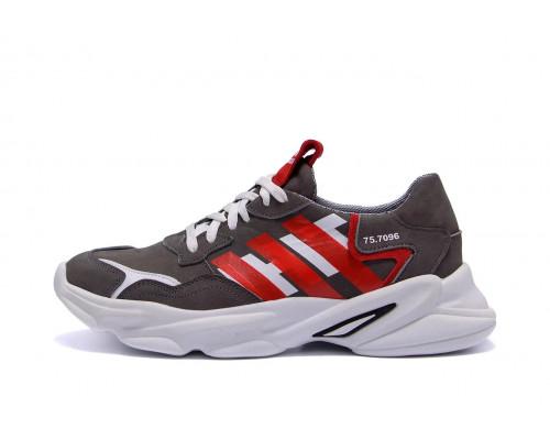 Мужские кожаные кроссовки Adidas Running Team серые