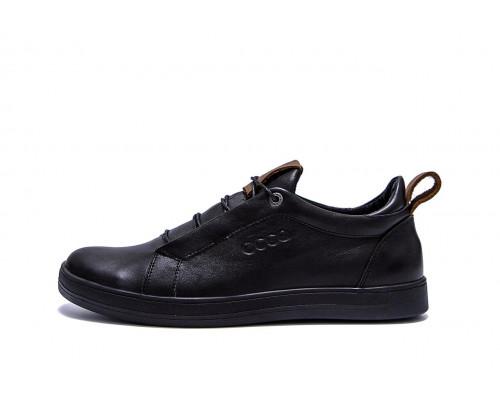 Мужские кожаные кроссовки E-Collection Е3 черные