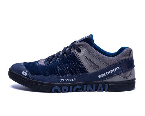 Мужские кожаные кроссовки Salomon Blue Trend