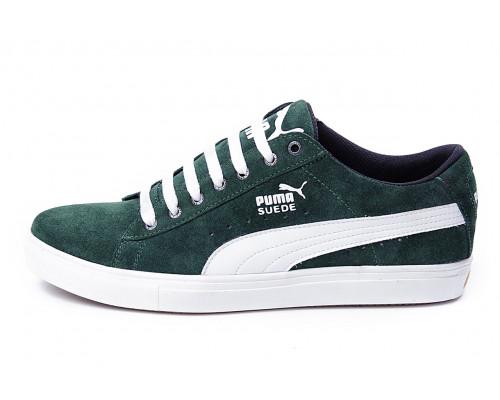 Мужские кожаные кеды Puma SUEDE Green