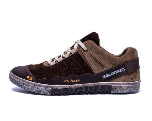 Мужские кожаные кроссовки Salomon Chocolate Trend