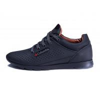 Мужские кожаные летние кроссовки, перфорация Columbia SB black