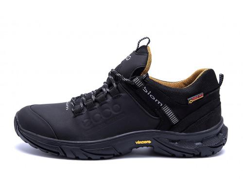 Мужские кожаные кроссовки Ecco Tracking Black
