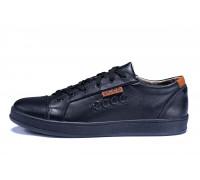 Мужские кожаные кеды Ecco Soft Men Black Leather